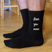 I Love You More Socks, Valentine Socks, Custom Printed Personalized Men's Black Dress Socks, Valentine Gift Idea, Engagement Gift Idea