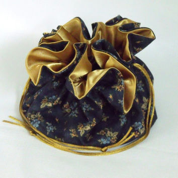 Drawstring Jewelry Bag Gold Daisy on Navy Blue Extra Large