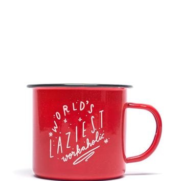 World's Laziest Workaholic Enamel Mug