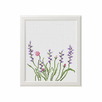 Flowers Cross Stitch pattern Lavender Helleborus floral Cross Stitch nature Cross stitch DIY house room decor PDF pattern beautiful gift