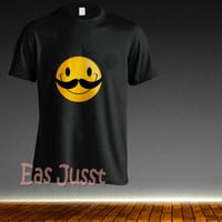 smile with mustache, Custom T-shirt, print screen T-shirt, Awesome T-shirt for Men,Size S-5XL