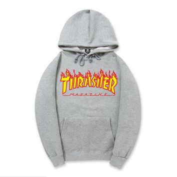 ThrasherNew flame thickening hoodies sweater letters and line Grey