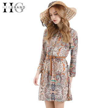 New Trend Spring Summer Sexy Women Dress Print Bohemian A-Line Full Sleeve Turn-down Collar Vestidos Without Belt LQL3671