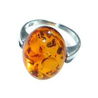 Baltic Amber Ring Vintage Sterling SIlver Honey Orange Oval Stone Inclusions Simple Modern Design Size US 5