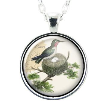 Hummingbird Necklace, Nest & Egg Mom Pendant, Mother Jewelry