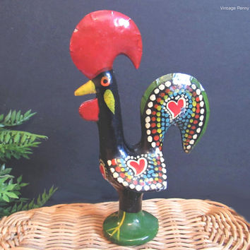 Vintage Portuguese Rooster, Toleware Chicken, Painted Metal Folk Art