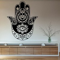 Wall Decals Vinyl Decal Sticker Hamsa Hand Fatima Amulet Indian Mandala Star Floral Design Feather Lotus Eye Om Oum Sign Yoga Studio Gym Bedroom Living Room Decor Home Interior Wall Art Murals