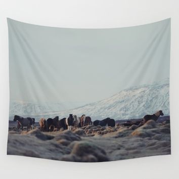 Icelandic Horses II Wall Tapestry by Hraun Photography