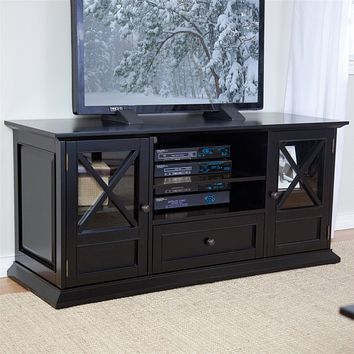 55-inch Wide Black TV Stand Entertainment Center with Adjustable Shelves Cabinet and Drawer