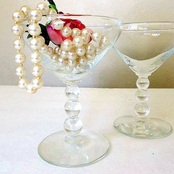 Vintage Libbey FOUR Knob Hill cocktail up glasses or champagne glasses, Mid Century coupes, ball beaded stem, Rock Sharpe Martini up glass