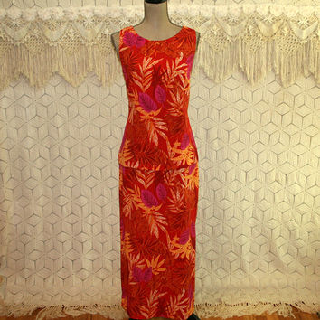 Womens Tropical Dress Large Sleeveless Hawaiian Maxi Long Summer Dress Orange Fuchsia Leaf Print Size 12 Vintage Clothing Womens Clothing