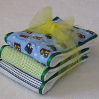 Burp Cloths - choo choo train soft flannel fabrics coordinated with green ribbon, sewn on diaper