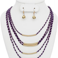 Purple White Layered Cord Necklace Earrings Set