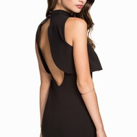 Black Sleeveless Backless Top Overlay Funnel Collar Bodycon Mini Dress