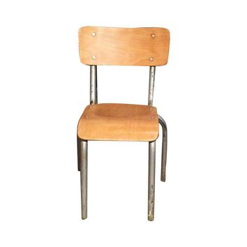 Pre-owned Vintage Industrial French Child's School Chair