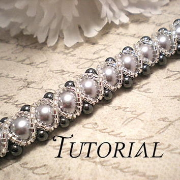 Tutorial PDF Right Angle Weave Swarovski Pearl Braided Bracelet with a Glass Seed Bead Overlay