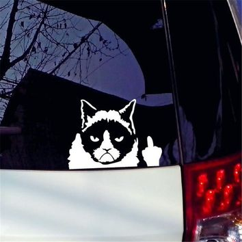 Angry Cat Funny Jokes Car Sticker Reflective Vinyl Material Window Minion Car Decals Words Style Motorcycle Vinilo for All Car