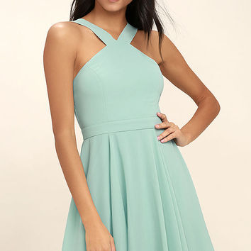 Forevermore Turquoise Skater Dress