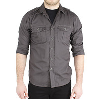 Guys Solid Military Shirt