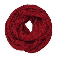 HauteChicWebstore Solid Color Knitted Infinity Scarf in Red - www.shophcw.com