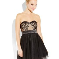 TEEZE ME Black & Nude Strapless Lace Tulle Dress