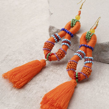 Festivity Orange Beaded Tassel Earrings