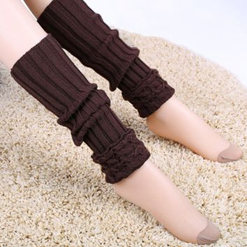 Casual Knit Solid Patterned Leg Warmer
