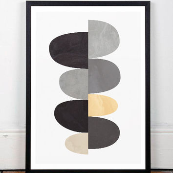 Geometric art print, Abstract art, Scandinavian art, Scandinavian affiche, Minimalist poster, Wall print, Home decor, Modern art, A3 print