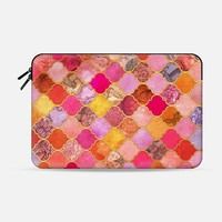Hot Pink, Gold, Tangerine & Taupe Decorative Moroccan Tile Pattern Macbook 12 sleeve by Micklyn Le Feuvre | Casetify