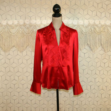 Red Silk Blouse Long Sleeve Dressy Tops Button Up Shirt Large Red Blouse Red Shirt Red Top Silk Blouse Jones New York Womens Clothing