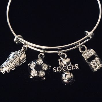 I Love Soccer Jewelry Crystal Soccer Ball Adjustable Charm Bracelet Silver Expandable Bangle One Size Fits All Gift Coach Whistle Soccer Cleat