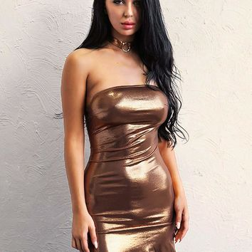 Joyfunear Open Back Split Side Metallic Tube Dress