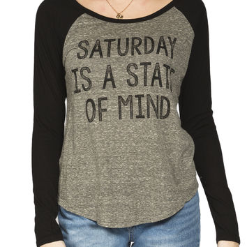 Girls 'Saturday State Of Mind' 3/4 Sleeve Raglan Tee