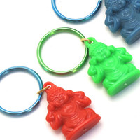 Red Buddha Keychain, Buddhist Keychain, Yoga Keychain, Yoga Gift, Stocking Stuffer, Gifts Under 10, Bodhi Day