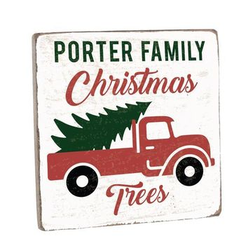 Personalized Christmas Tree Truck Vintage Wood Sign 12 x 12