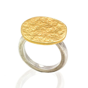 Unique women gold ring - 14k solid gold and sterling silver ring - geometric gold ring with a hammered finish - anniversary Ring