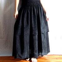 Boho chic black long skirt Size from XS to XL by AliceCloset
