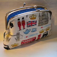 London coin purse with 2 compartment Metal Frame by PursePoppet