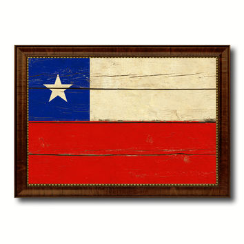Chile Country Flag Vintage Canvas Print with Brown Picture Frame Home Decor Gifts Wall Art Decoration Artwork