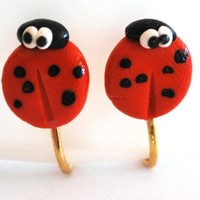 Ladybug Clip On Earrings Handcrafted Polymer Clay