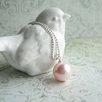 Pale Pink Pearl Necklace, Swarovski Pearl Necklace, Bridal Jewelry, Swedish Jewelry Design, Made in Sweden