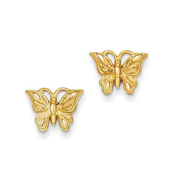11mm Diamond Cut Butterfly Post Earrings in 14k Yellow Gold