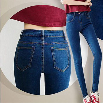 6 EXTRA LATGE Women Jeans Summer Style Korean Elastic High Waist Jeans Slim Was Thin Pencil Pants Boyfriend Jeans Free Shipping
