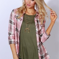 Lost In Love Plaid Top Pink