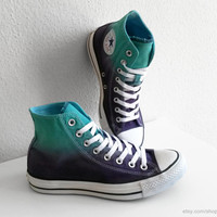 New pair! Light jade green & purple ombre Converse, dip dye sneakers, All Stars, Chucks, uk 7 (eu 40, us wo 9, us men's 7)