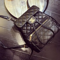 CHANEL Women College Leather Satchel Backpack Bookbag Pure Black