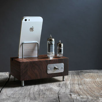 LED illuminated charging station for iPhone Samsung Galaxy handcrafted butcher block from walnut wood with triple electron tubes
