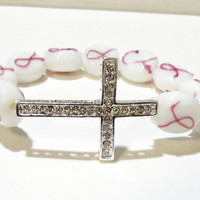 Breast Cancer Awareness Silver Rhinestone Cross White Glass Elastic Stretchy Beaded  Bracelet, Fits up to 8.5""