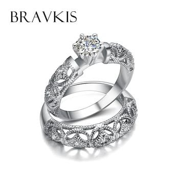 BRAVKIS vintage crystal bridal ring set for women filigree wedding band carved ring sets double rings ringen bijoux 2017 BUR0130