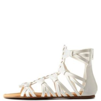 White Knotted Crisscross Caged Gladiator Sandals by Charlotte Russe